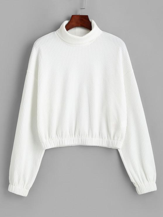 ZAFUL Turtleneck Drop Shoulder Sweatshirt - أبيض XL