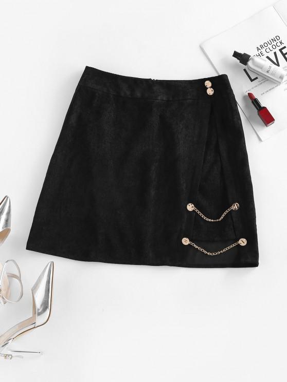 shop ZAFUL Corduroy Mock Button Chain Embellished Skirt - BLACK S