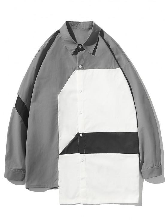 Irregular Colorblock Patchwork Button Up Shirt - سفينة حربية رمادية M