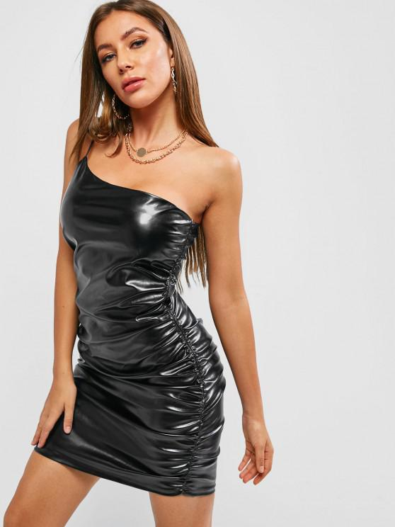 women ZAFUL Faux Leather One Shoulder Night Out Dress - BLACK S