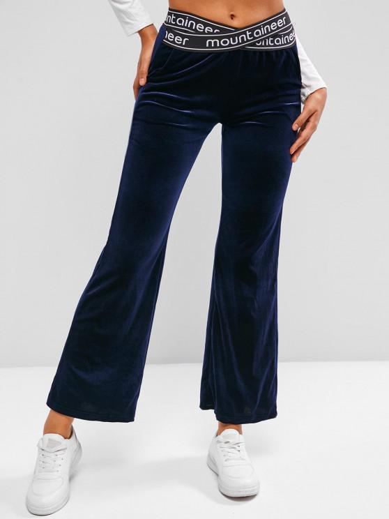 Criss Cross Waist Velvet Graphic Flare Pants - ازرق غامق S