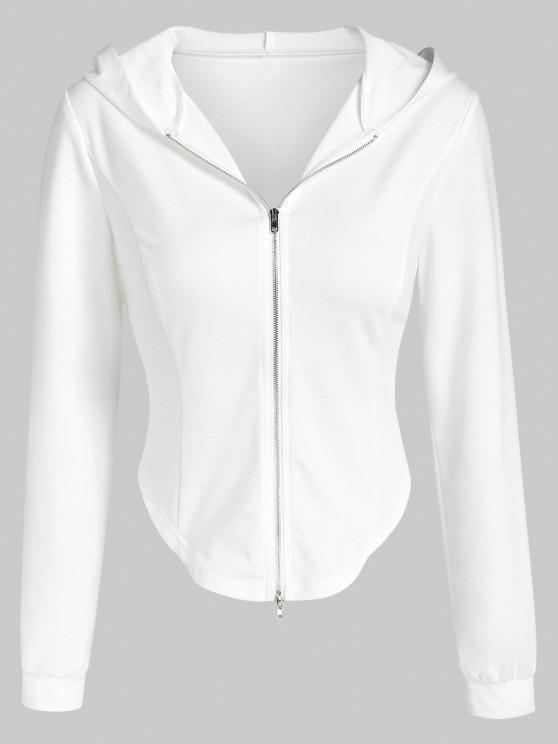 affordable ZAFUL Irregular Cropped Zip Up Hoodie - WHITE M