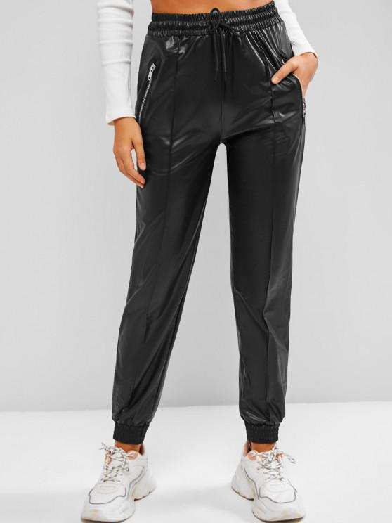 fancy Zippered Pockets Drawstring Faux Leather Pants - BLACK S