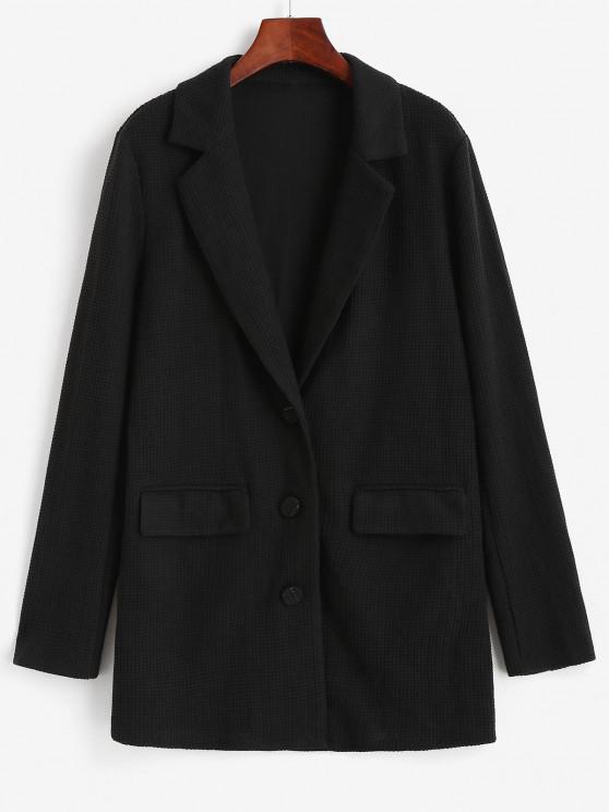 women's ZAFUL Textured Knit Flap Pocket Tunic Blazer - BLACK S