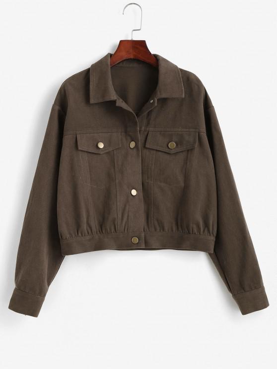 fancy ZAFUL Flap Pockets Button Up Jacket - DARK KHAKI S