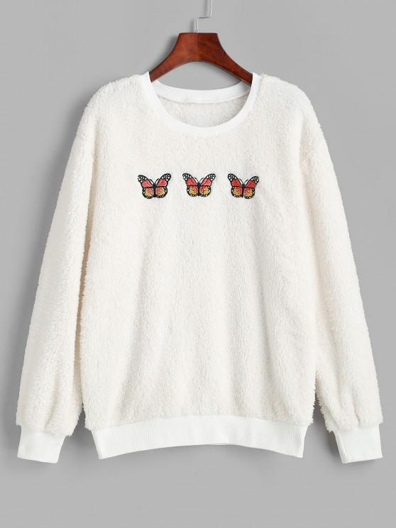 Ribbed Trim Fluffy Butterfly Embroidered Sweatshirt - أبيض M