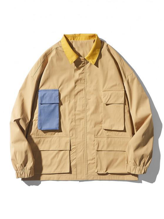 womens Drop Shoulder Contrast Multi Pockets Jacket - KHAKI M