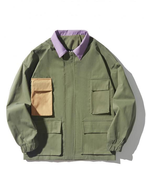 ladies Drop Shoulder Contrast Multi Pockets Jacket - ARMY GREEN XL