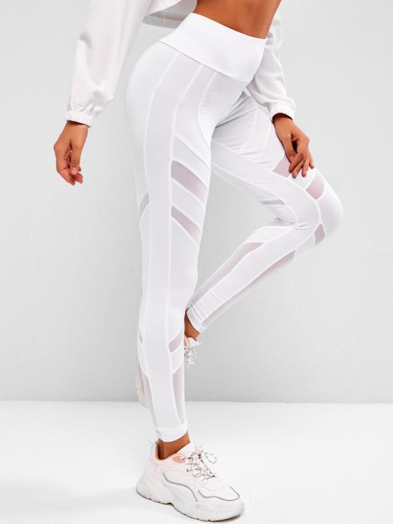 lady Mesh Panel Wide Waist Sports Leggings - WHITE L
