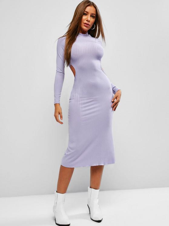 womens Tie Back Ribbed Backless Midi Dress - MEDIUM PURPLE M