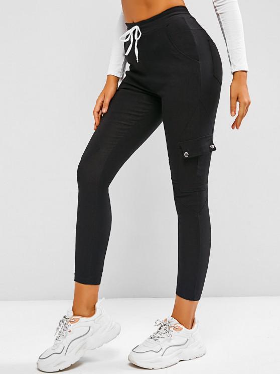 womens Drawstring Beam Feet Cargo Skinny Pants - BLACK XL