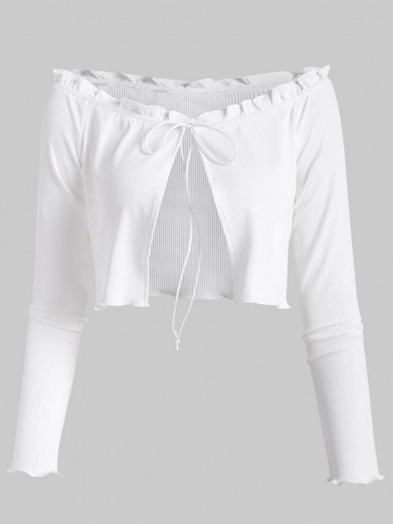 fashion ZAFUL Ribbed Frilled Off Shoulder Slim Tee - WHITE S
