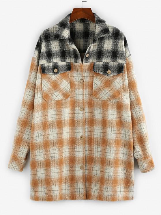 fancy ZAFUL Plaid Dual Pocket Drop Shoulder Tunic Shirt Coat - MULTI-A M