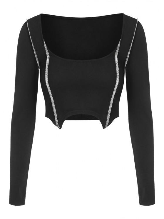 outfit ZAFUL Topstitching Uneven Hem Crop T Shirt - BLACK L