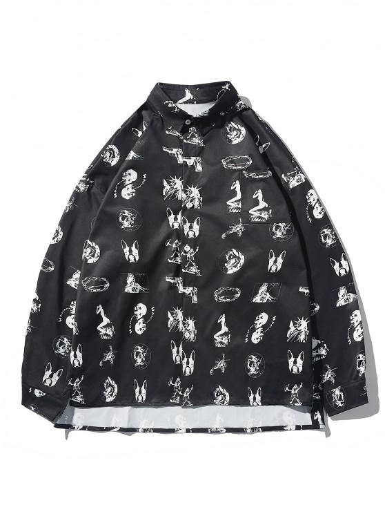 High Low Animal Figure Skull Allover Pattern Shirt Jacket - أسود M