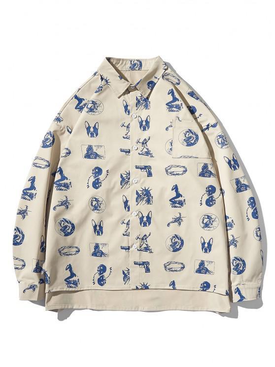 High Low Animal Figure Skull Allover Pattern Shirt Jacket - ضوء الكاكي L