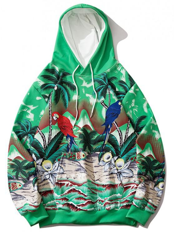 latest Palm Tree Parrot Flower Tropical Print Hoodie - CLOVER GREEN 2XL