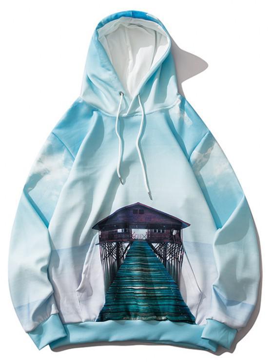 Sudadera con Capucha de Estampado de Paisaje de Nube - Hiedra Azul L