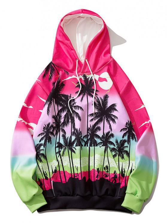 Ombre Palm Tree Hawaii Print Hoodie - وردة حمراء M
