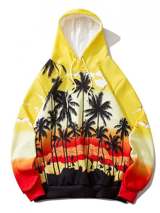 lady Ombre Palm Tree Hawaii Print Hoodie - RUBBER DUCKY YELLOW XL
