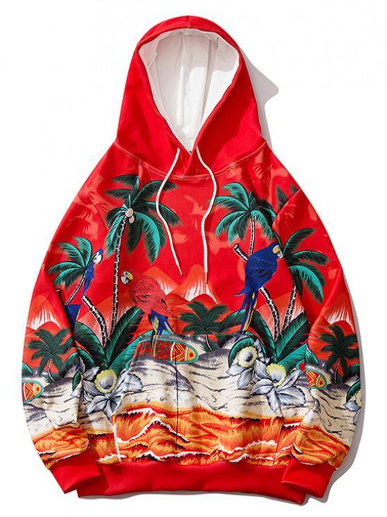 Palm Tree Parrot Flower Tropical Print Hoodie - أحمر XL