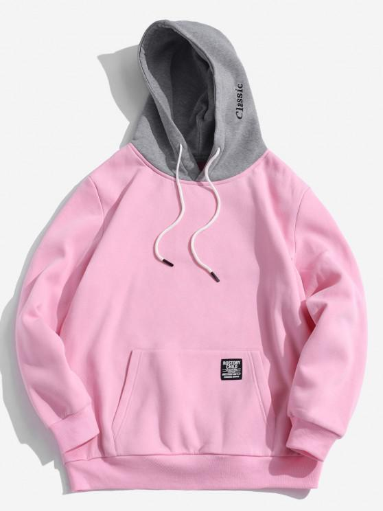 online Color-blocking Letter Patch Detail Pouch Pocket Fleece Hoodie - PINK XS