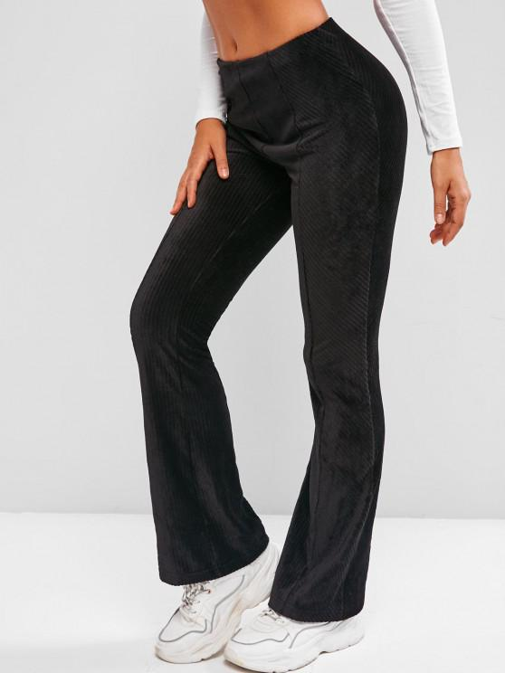 womens Mid Rise  Solid Corduroy Flare Pants - BLACK XL