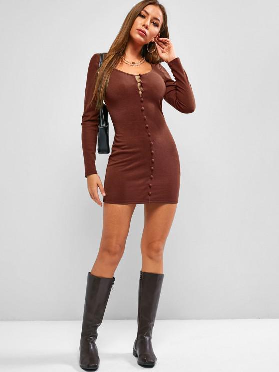 ZAFUL Loop Button Bodycon Mini Dress - Sepia S