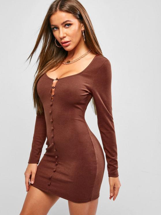 women's ZAFUL Loop Button Bodycon Mini Dress - SEPIA L