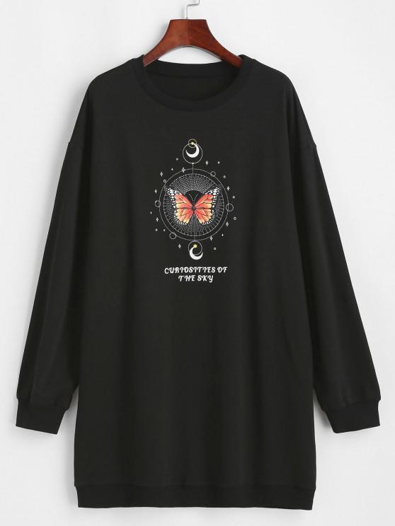 ZAFUL Moon and Butterfly Drop Shoulder Tunic Sweatshirt - أسود S