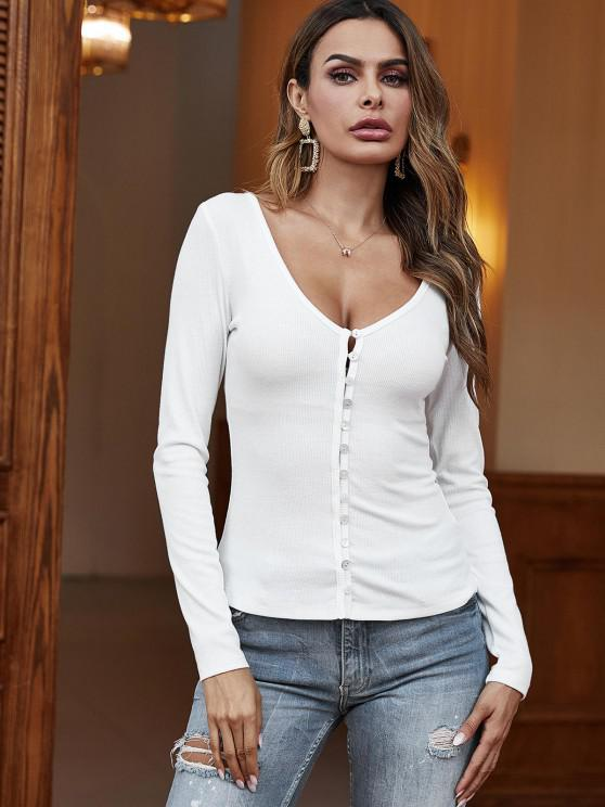 fashion V Neck Ribbed Button Loop Tee - WHITE M