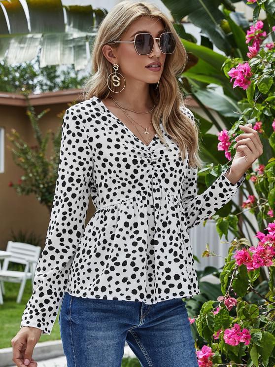 fashion V Neck Dalmatian Dot Ruched Front Blouse - WHITE M