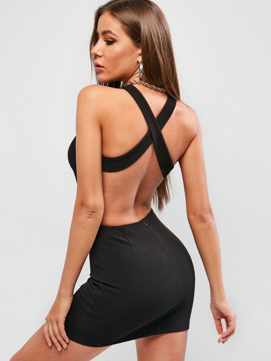 affordable ZAFUL Criss Cross Backless Sleeveless Bodycon Dress - BLACK M