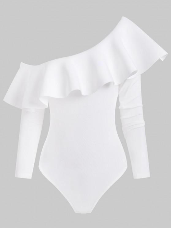 Skew Collar Flounce Snap Crotch Long Sleeve Bodysuit - أبيض S