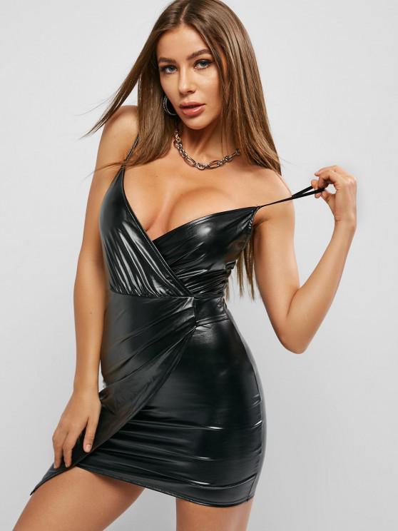 lady Faux Leather Surplice Asymmetrical Bodycon Dress - BLACK M