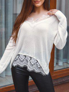 Lace Eyelash Sheer Drop Shoulder Sweater - White