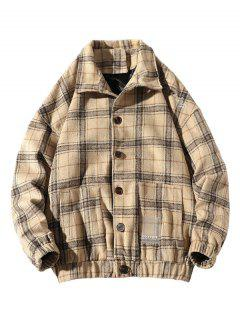 He Is A Boy Embroidery Plaid Button Up Jacket - Beige Xl