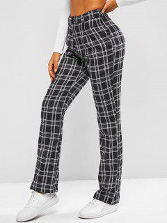 Plaid Straight Pants - Black Xl