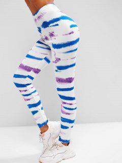 High Waisted Pull On Tie Dye Leggings - White M