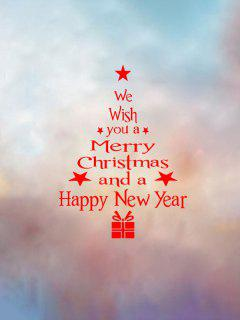 Christmas Tree Wish Letter Print Wall Art Stickers - 赤 40x22cm