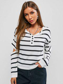 Striped Mock Button Cutout Elbow Jumper Sweater - White