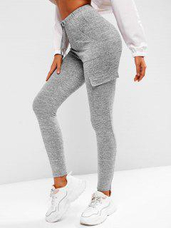 Tie Waist Flap Pocket Marled Sports Leggings - Dark Gray Xl