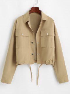 Flap Pocket Front Snap Button Drawstring Hem Jacket - Coffee S