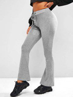Pull On Drawstring Flare Pants - Light Gray L