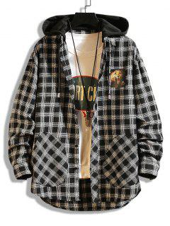 Leopard Print Plaid Colorblock Hooded Shirt Jacket - Black Xs