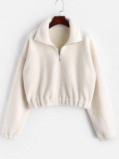 Half Zip Plain Faux Fur Sweatshirt - White S