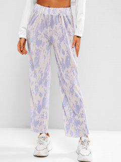High Waisted Pleated Tie Dye Wide Leg Pants - Multi-h L