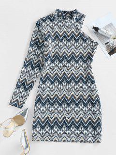 ZAFUL Zig Zag Geo One Sleeve Mock Neck Bodycon Dress - Multi L