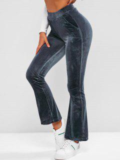 Pockets Velvet Flare High Waisted Pants - Deep Blue S