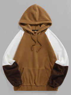 ZAFUL Raglan Sleeve Contrast Polar Fleece Hoodie - Coffee L